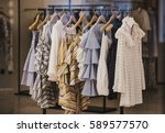 Stock photo fashionable clothes in a boutique store in london 589577570
