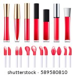 red lip gloss with applicators... | Shutterstock .eps vector #589580810