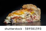 piece of homemade quiche with... | Shutterstock . vector #589581593