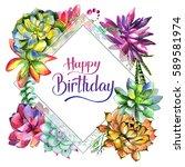 wildflower succulentus flower... | Shutterstock . vector #589581974