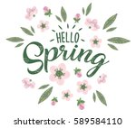 hello spring hand sketched... | Shutterstock .eps vector #589584110