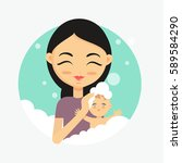 happy mother washes her baby.... | Shutterstock .eps vector #589584290