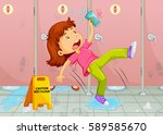 girl slipping on toilet floor... | Shutterstock .eps vector #589585670
