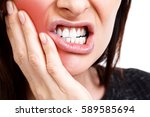 woman with a toothpain ... | Shutterstock . vector #589585694