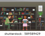 people reading textbooks in... | Shutterstock .eps vector #589589429