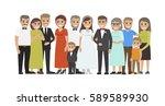 wedding guests group portrait.... | Shutterstock .eps vector #589589930