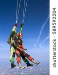 skydiving photo. tandem. | Shutterstock . vector #589592204