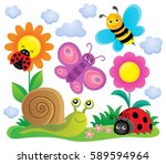 spring animals and insect theme ... | Shutterstock .eps vector #589594964