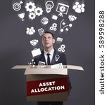 Small photo of Business, Technology, Internet and network concept. Young businessman shows the word: Asset allocation