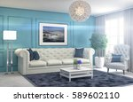 interior with sofa. 3d... | Shutterstock . vector #589602110