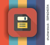 floppy disc flat icon with long ...