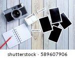 retro camera and empty old... | Shutterstock . vector #589607906