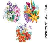 set of arrangements from... | Shutterstock .eps vector #589610438