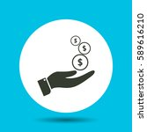 money in hand icon. flat vector ... | Shutterstock .eps vector #589616210
