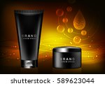 cosmetic set  shampoo  mask ... | Shutterstock .eps vector #589623044