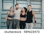 cheerful sporty men and women... | Shutterstock . vector #589623473