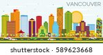vancouver skyline with color... | Shutterstock .eps vector #589623668