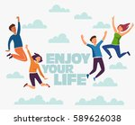 group of young people jumping... | Shutterstock .eps vector #589626038