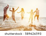 happy family or friends at the... | Shutterstock . vector #589626593