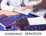 medical workplace. doctor... | Shutterstock . vector #589629134