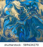 blue and gold liquid texture.... | Shutterstock . vector #589634270