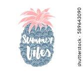 summer vibes. hand written... | Shutterstock .eps vector #589643090