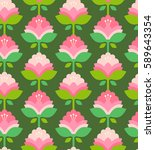 seamless retro pattern with... | Shutterstock .eps vector #589643354