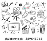 hand drawn online cinema doodle ... | Shutterstock .eps vector #589648763