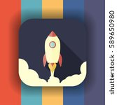 rocket launch flat icon with... | Shutterstock .eps vector #589650980