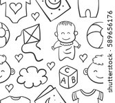 doodle of baby object vector... | Shutterstock .eps vector #589656176