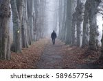 man walking alone in the woods  | Shutterstock . vector #589657754