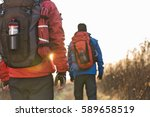rear view of male backpackers... | Shutterstock . vector #589658519