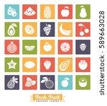 fruit square icon vector set.... | Shutterstock .eps vector #589663028