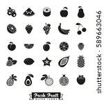 fruit glyph icon vector set.... | Shutterstock .eps vector #589663046
