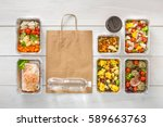 healthy restaurant food... | Shutterstock . vector #589663763