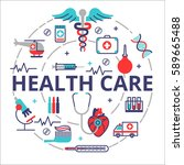 health care concept in flat... | Shutterstock .eps vector #589665488