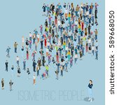 people crowd arrow. isometric... | Shutterstock .eps vector #589668050