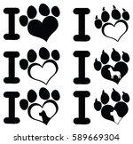 I Love Paw Print Logo Design 0...