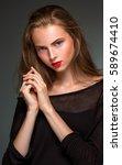 portrait beauty woman isolated... | Shutterstock . vector #589674410