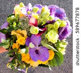 Small photo of Bouquet of vanda orchid,rose flowers on gray background