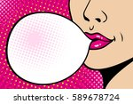 close up female face. sexy pink ... | Shutterstock .eps vector #589678724