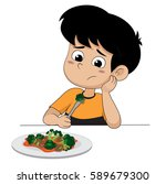 kid sad with his broccoli... | Shutterstock .eps vector #589679300