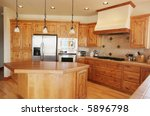 a tidy pine kitchen in a... | Shutterstock . vector #5896798