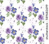 seamless floral pattern with... | Shutterstock . vector #589682699