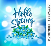 hello  spring. vector hand...   Shutterstock .eps vector #589691180