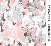 light tropical floral pastel... | Shutterstock .eps vector #589696628