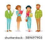 vector set of students with... | Shutterstock .eps vector #589697903