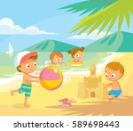kids play at the beach | Shutterstock .eps vector #589698443