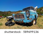 ARIZONA, USA - JUN 09, 2016: Amazing old and rusted oldtimer in Arizona. Oldtimer stands beside oldtimer in a meadow. A dream for collectors. - stock photo