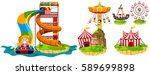 different rides in theme park... | Shutterstock .eps vector #589699898